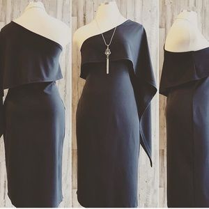 Off the shoulder body con dress black XL fitted